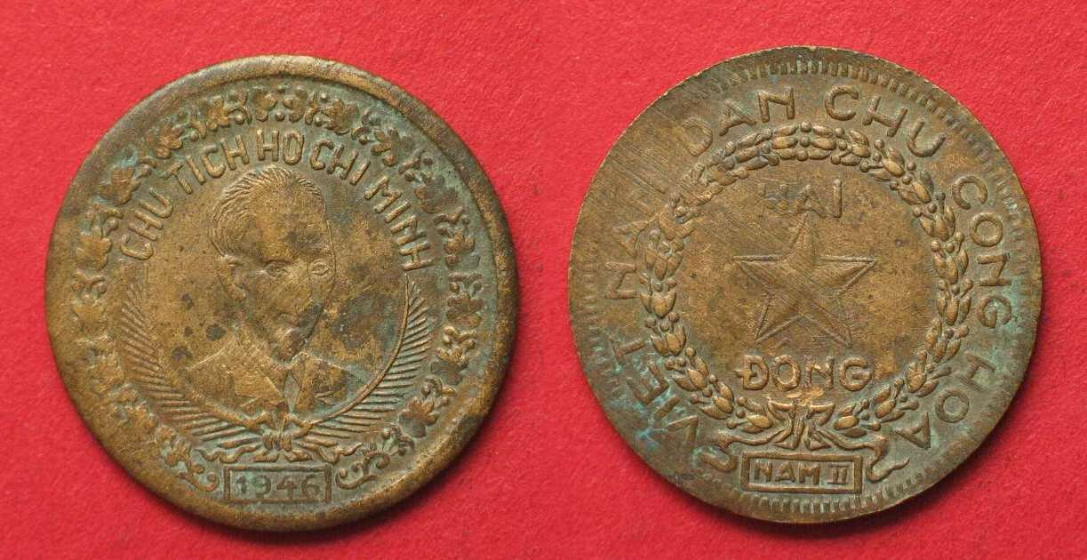 1946 Vietnam North 2 Dong Ho Chi Minh Bronze Vf Scarce 91517 Ss