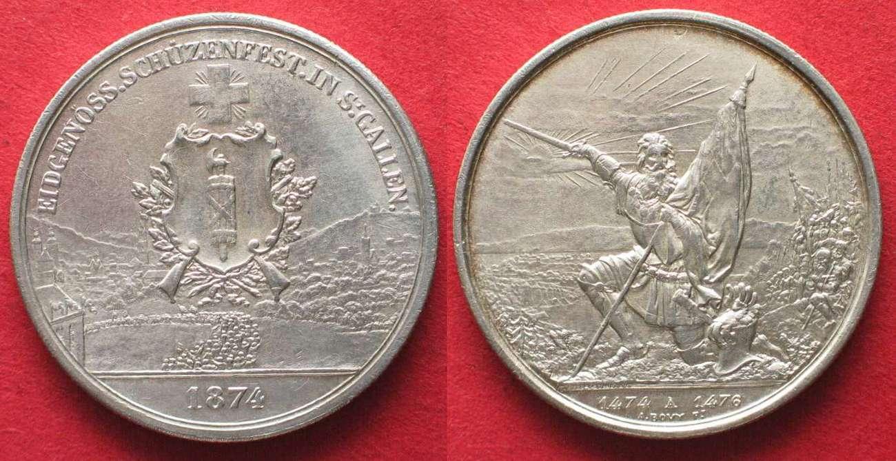 1874 Schweiz - Schützentaler Swiss SAINT GALL 5 Franken 1874 SHOOTING FESTIVAL silver UNC