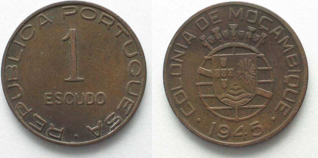1945 Mosambik PORTUGUESE MOZAMBIQUE 1 Escudo Bronze VF 95300