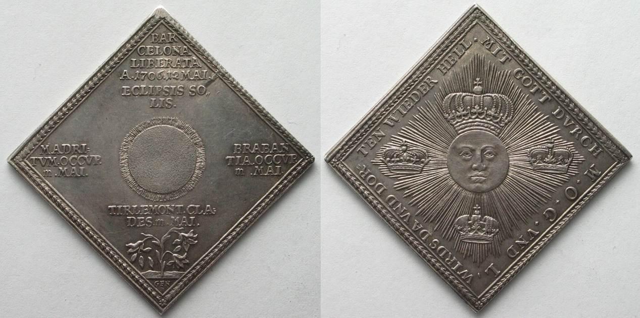 1706 Nürnberg Germany NUREMBERG 1/2 Thaler Klippe 1706 WAR OF SPANISH  SUCCESSION silver# 96311 UNC