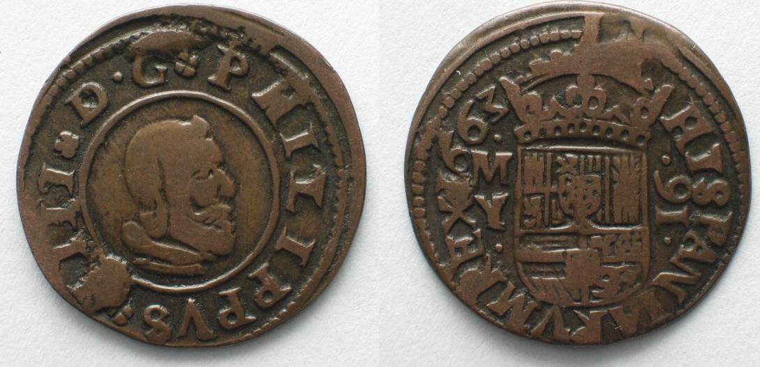 1663 spanien spain 16 maravedis 1663 my granada philip iv copper vf