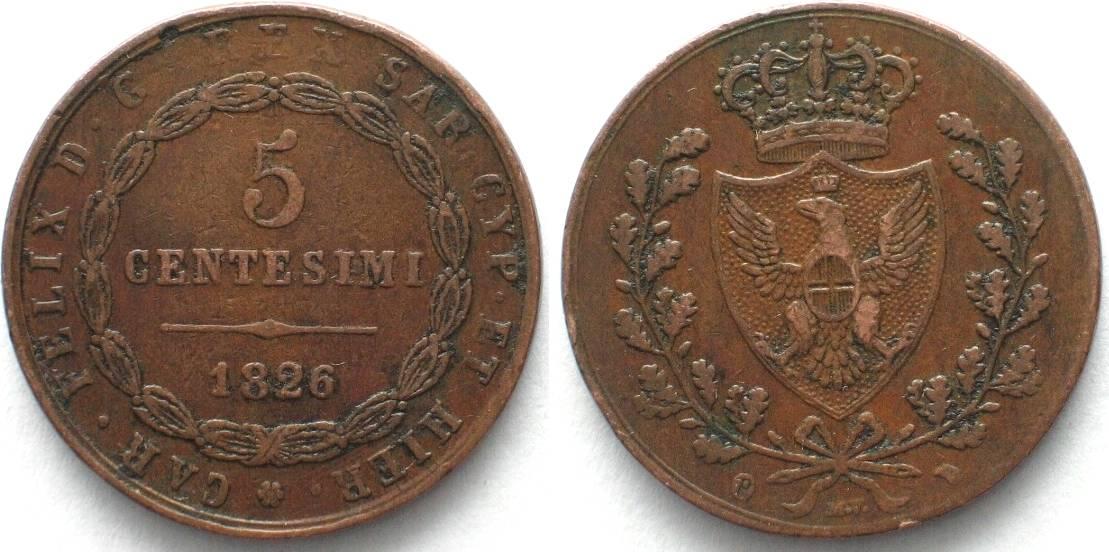 1826 italien sardinien italy sardinia 5 centesimi 1826 p for Coin torino