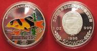 Nordkorea  NORDKOREA 500 Won 1996 Prachtschmerle ZIERFISCHE Silber 1 oz FARBE RRR! # 91450