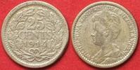 1914 Niederlande NEDERLAND 25 Cents 1914 ...