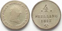 1842 Norwegen NORWEGEN 4 Skilling 1842 KA...