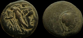 Nabatean Kingdom. Aretas II, 103-96 BC. strucked on the coin of Ptolemy II. AE 2
