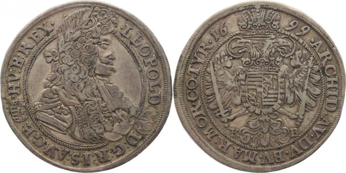 dd3f236b5 1/2 Taler 1699 KB Haus Habsburg Leopold I. 1657-1705. Alte Patina, VF+    MA-Shops