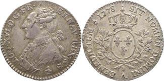 1/5 Ecu 1778  A Frankreich Ludwig XVI. 1774-1793. Schöne Patina, winz. Schrötlingsfehler,
