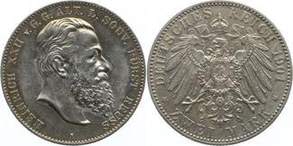 2 Mark 1901  A Reuß, ältere Linie Heinrich XXII. 1859-1902. Min.Gereinigt, fast vorzüglich