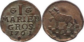 I Mariengroschen 1761 Anhalt-Bernburg Victor Friedrich 1721-1765. Sehr selten, Zainende, Schrötlingsfehler