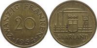 20 Franken 1954 Saarland  Patina, vorzüglich  2,00 EUR  +  5,00 EUR shipping