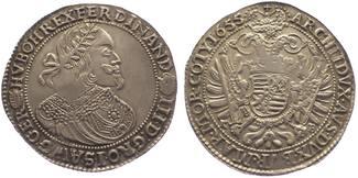 Taler 1655  KB Ungarn Ferdinand III. 1637-1657. Prägeschwäche, vorzüglich