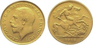 1/2 Sovereign Gold 1912 Großbritannien George V. 1910-1936. Winz. Randfehler, vorzüglich +