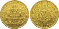 20 Mark  Gold 1876 J Hamburg  Fast vorzüglich
