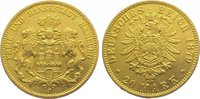 20 Mark  Gold 1879 J Hamburg  Winz. Randfe...