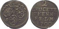 2 leuchte Pfennig 1700  SC Sachsen-Eisenac...