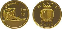 Malta 10 Liri Gold Republik seit 1974.