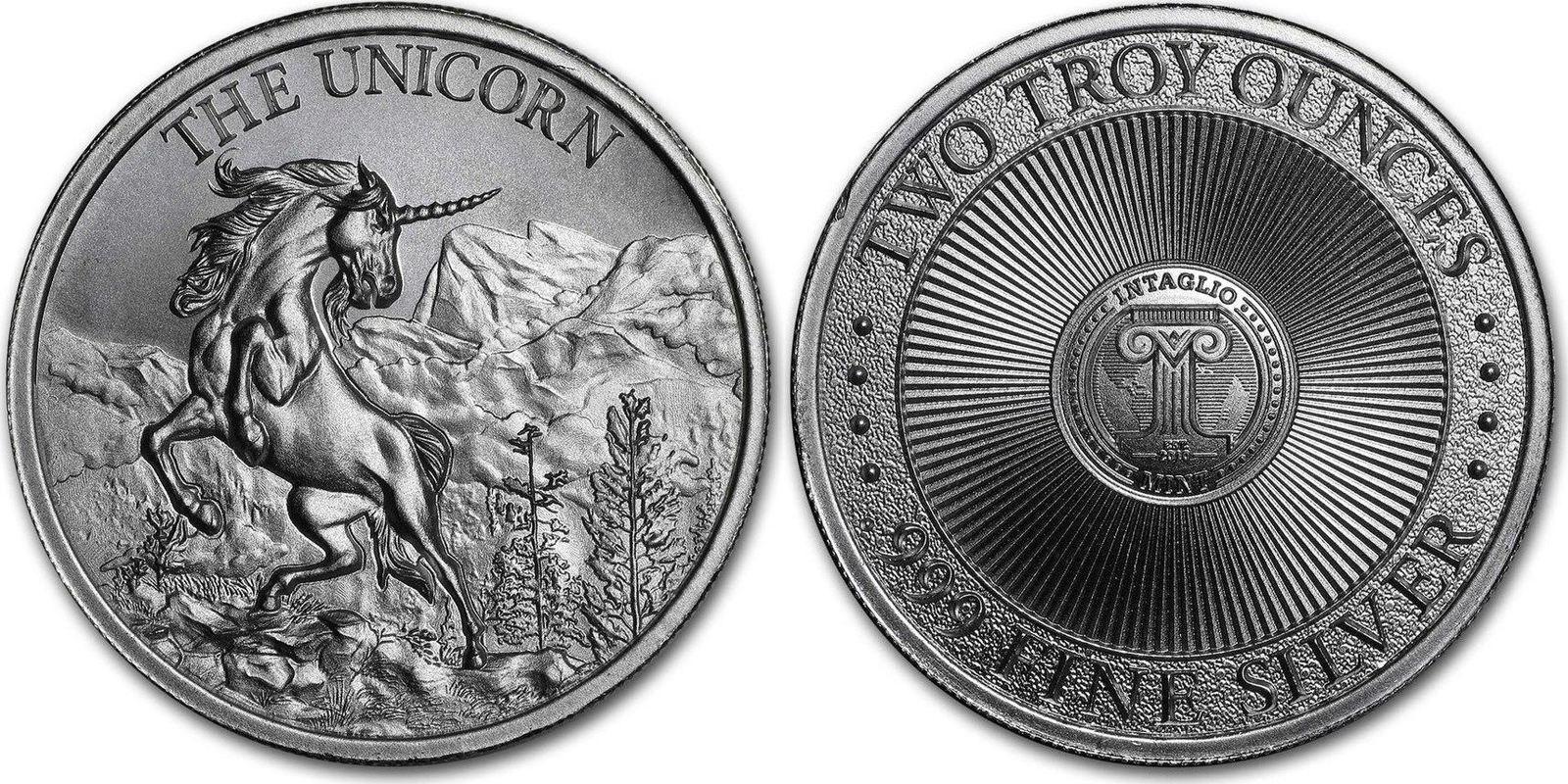 2020 THE UNICORN Cryptozoology silver BU rounds .999 fine silver 2 oz