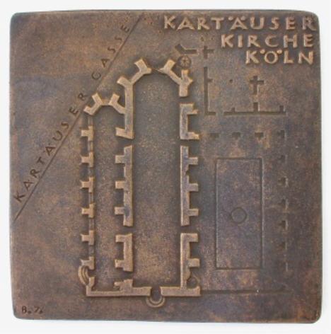 bronzeplakette 1976 k ln kart userkirche ef ma shops. Black Bedroom Furniture Sets. Home Design Ideas