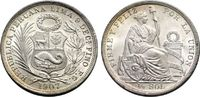 1/2 Sol 1907 PERU  Vorzüglich-Stempelglanz
