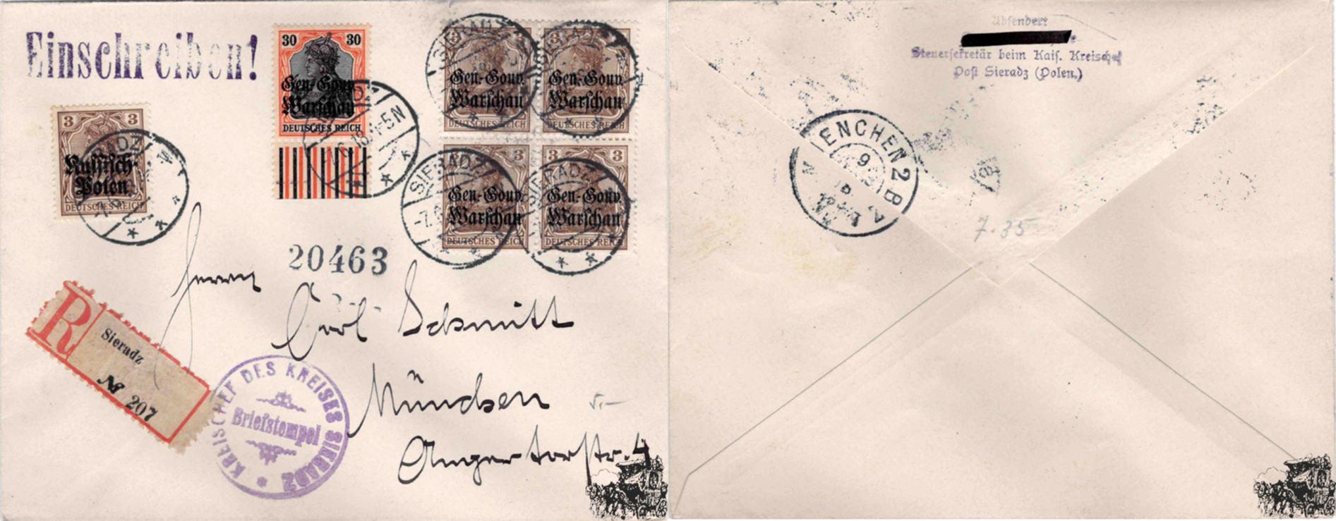 Deutschland R Brief 1918 Nr 1 Mit Aufdruck Russisch Polen Und Nr