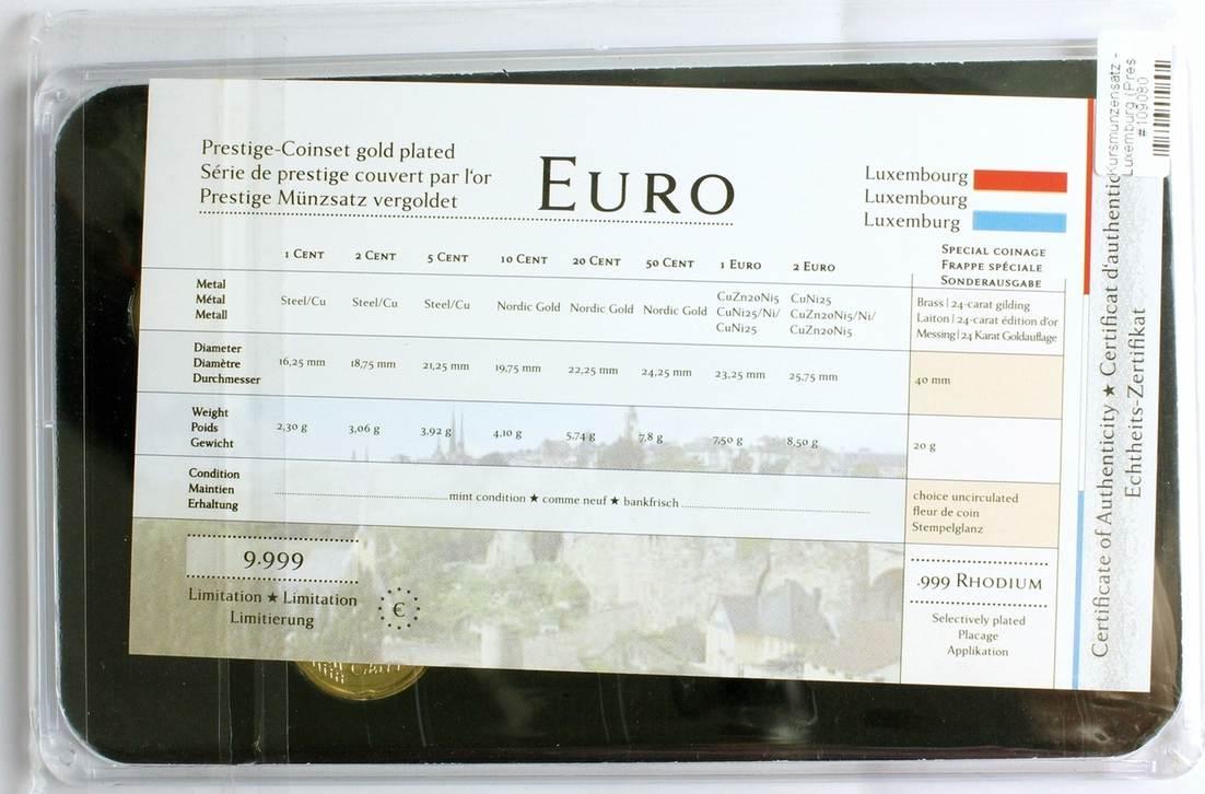 Kursmünzensatz - Luxemburg (Prestige Münzsatz) 24 Karat vergoldet  999  Rhodium