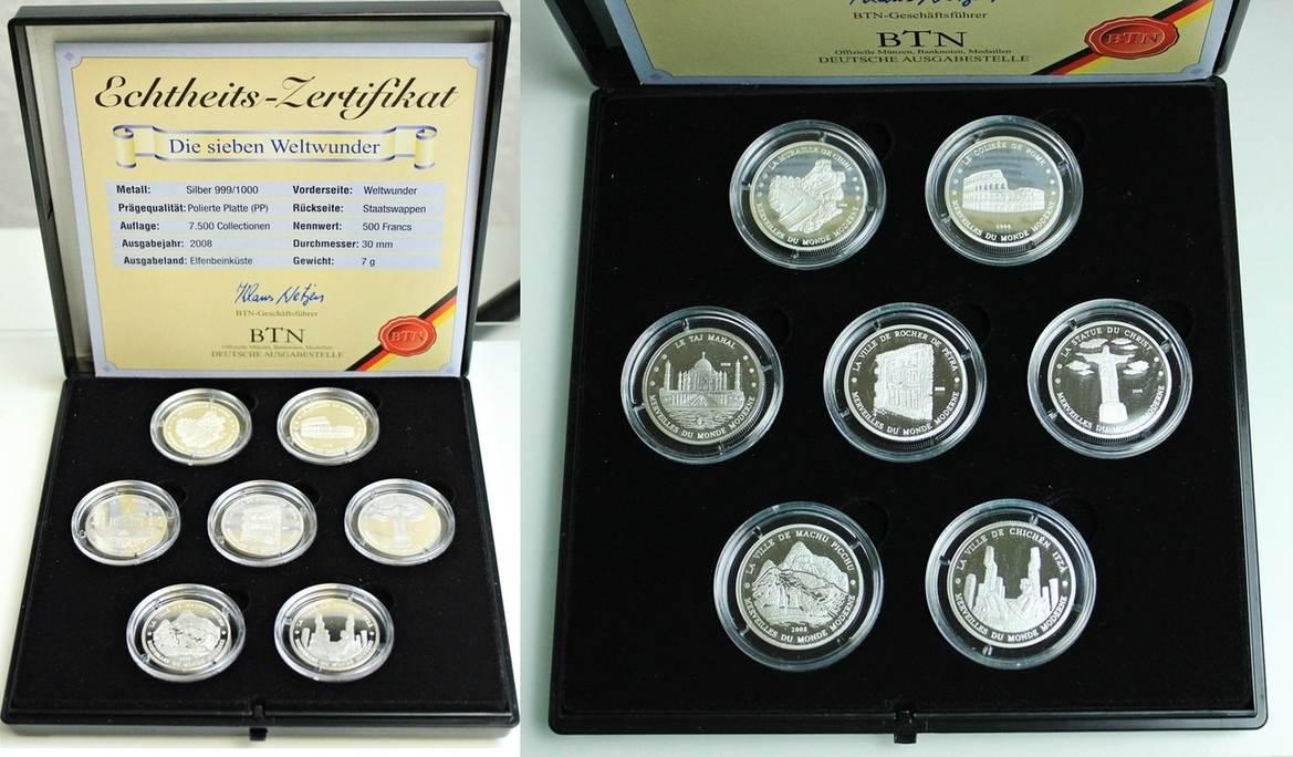 500 Francs 2008 Elfenbeinküste 7 Münzen Die Sieben Weltwunder Der