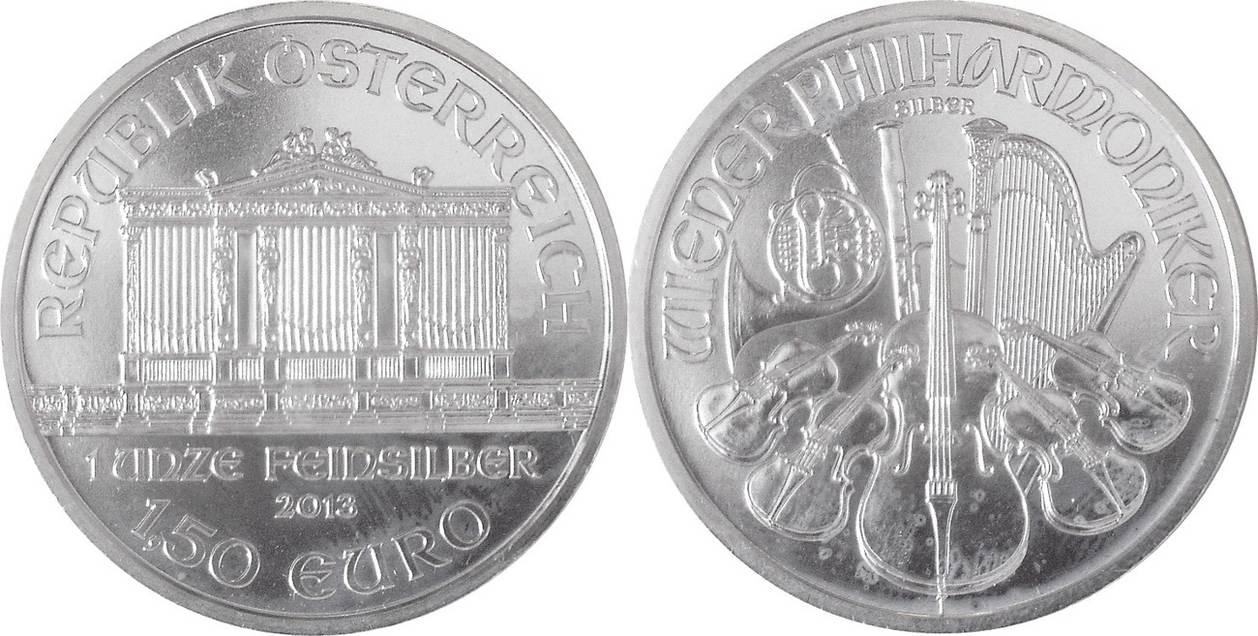 1,50 Euro 2013 Österreich, Austria 1 oz Wiener Philharmoniker BU,  Milchflecken