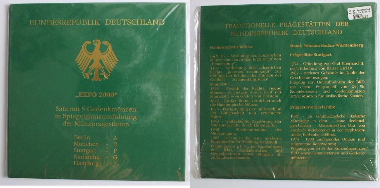 10 Dm 2000 Deutschland Gedenkmünzen Set Quotexpo 2000quot Pp