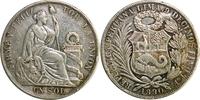1 Sol 1890 Peru Sitzende Freiheitsstatue ss