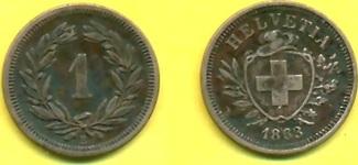 1 Rappen 1863 Schweiz RAR ss