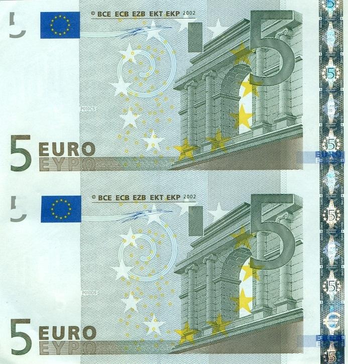 Uncut Currency 5 Euro Banknoten Im Paar Deutschland X0001 Bankfrisch