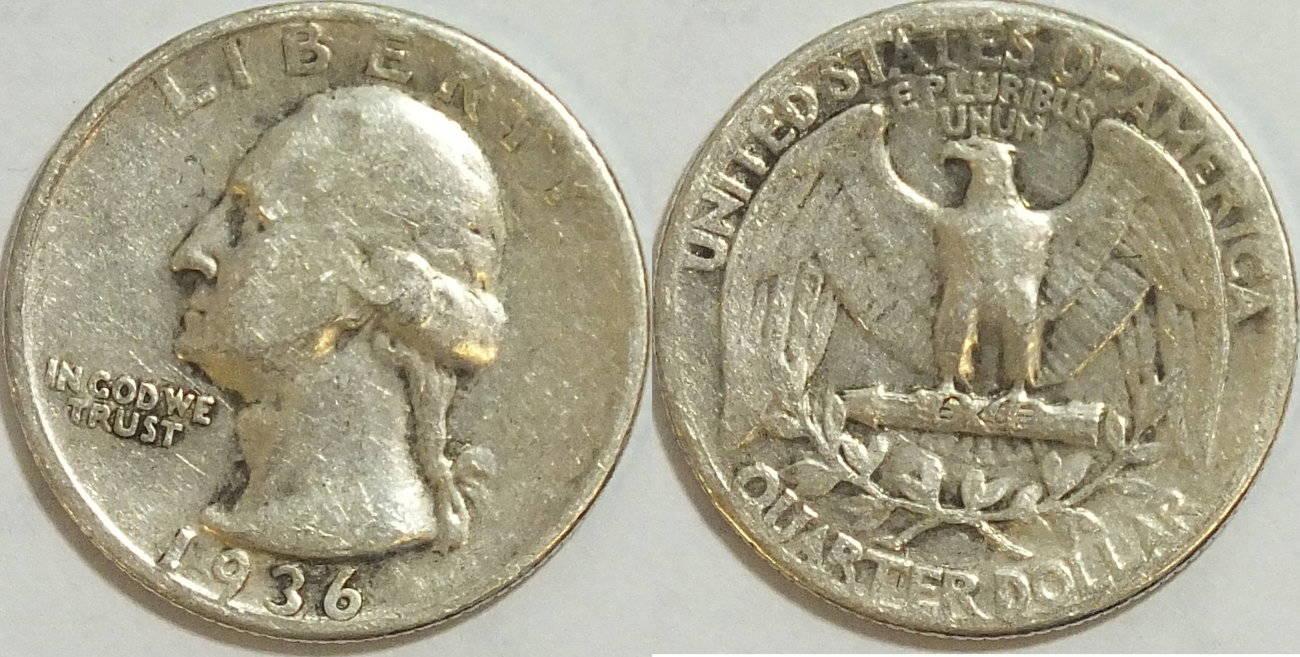25 Cent 1936 Usa Washington 90 Silber S Ma Shops