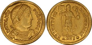 AU Solidus c. 364–378 AD Rome Valens. C, Antioch SS+