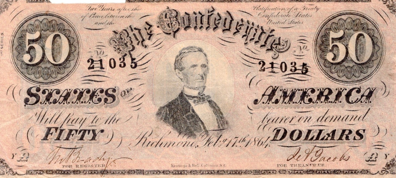 1864 USA 1864 Confederate Fifty Dollar Bill (CN6)