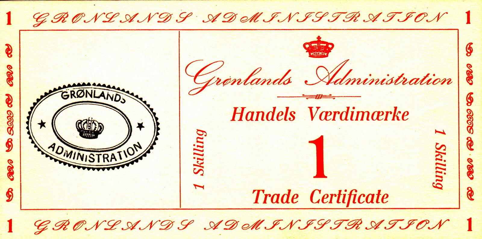1 Skilling 1942 Greenland TRADE CERTIF. P.M8 UNC | MA-Shops