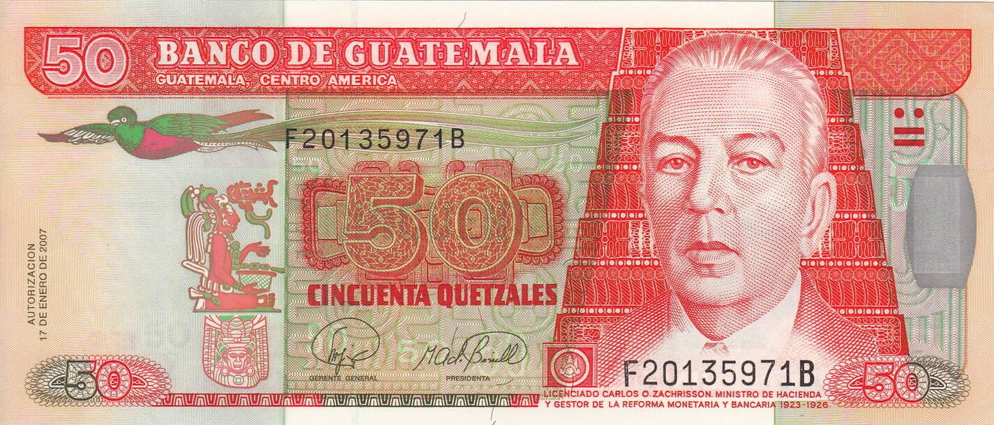 P-113-New Guatemala 2007 50 Quetzales UNC