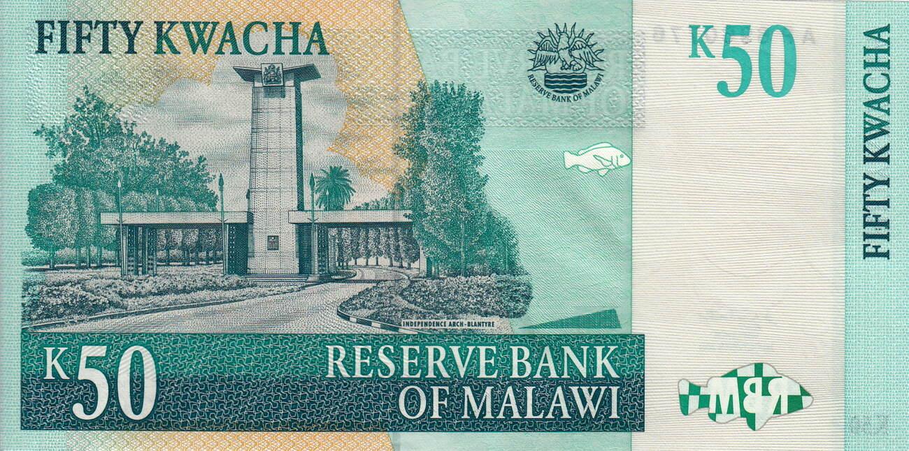 MALAWI 50 KWACHA 2001 P 45 UNC