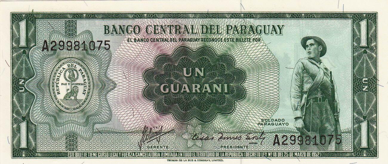 PARAGUAY 1 GUARANIE 1952 P 193 B UNC