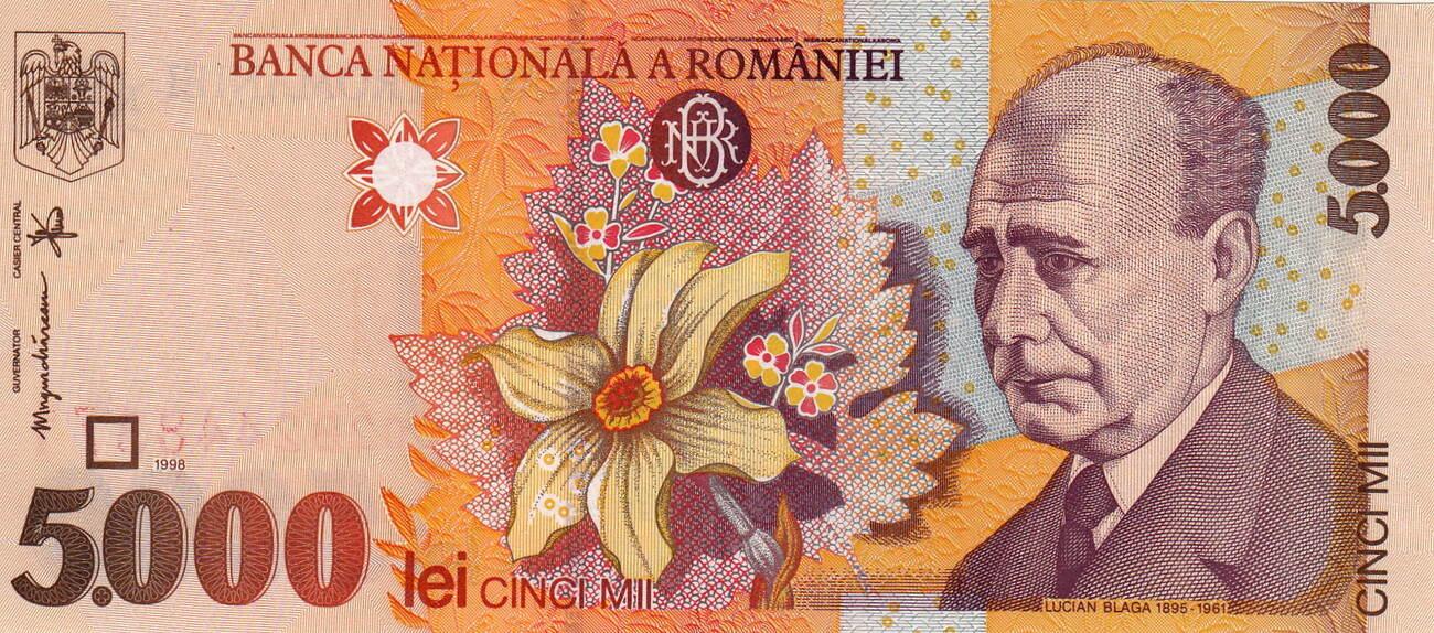 1998 Romania P-107 5000 Lei UNC