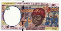 5.000 Fr.(P=CHAD) 1997 Central African St....