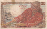 20 Francs 1949 France WOMAN/SHIP P.100a VF-