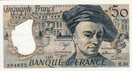 50 Francs 1991 France BUILDING P.152e vz