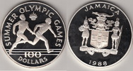 1988 Jamaica 100 Dollar S-OLYMPIC 88 (136...