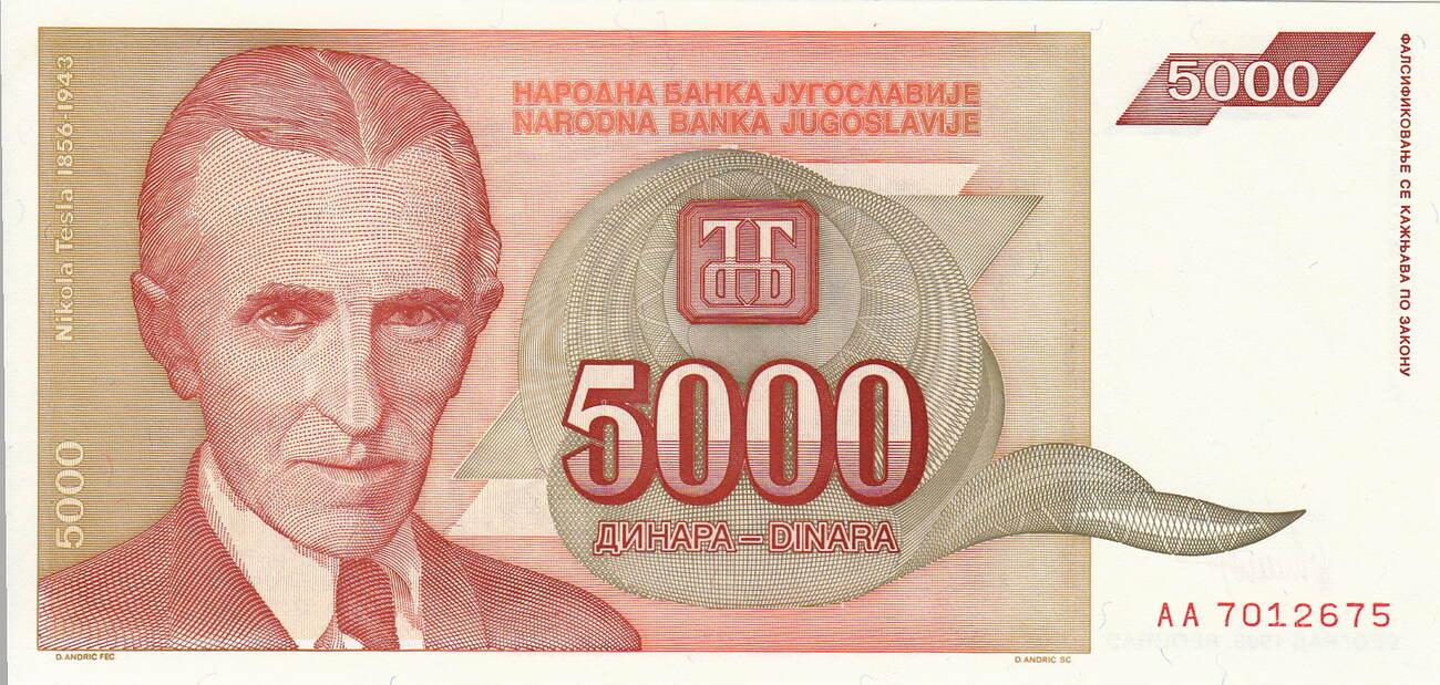 5 Thousand Dinara Yugoslavia 5000 1993 P-128 Tesla Banknote Unc 5,000