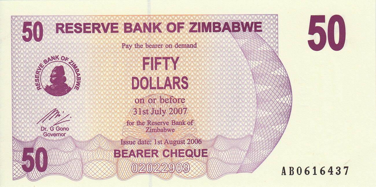 Zimbabwe 50 Dollars 2006 UNC P-41