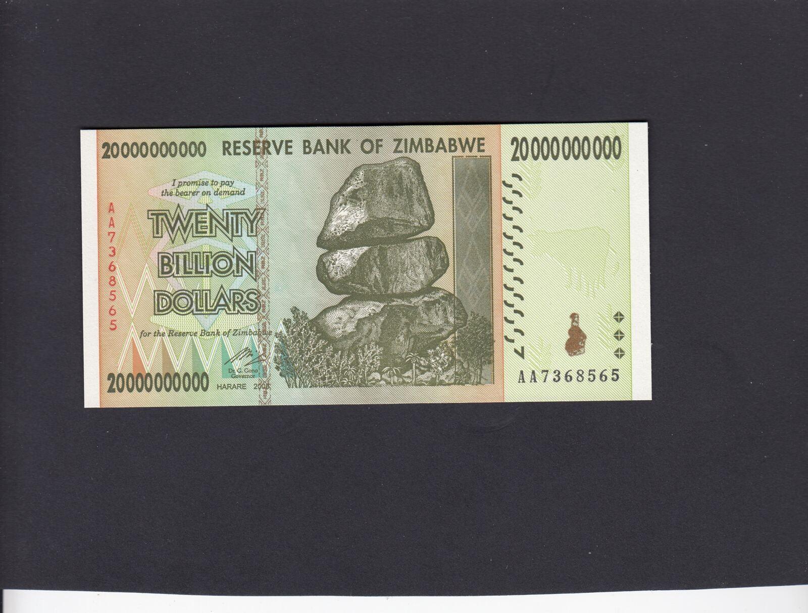 20 Billion Dollars 2008 Zimbabwe Rock P 86 Unc
