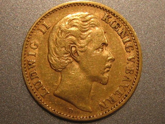 10 Mark 1875 D Bayern Bayern Ludwig 10 Mark 1875 D Gold VF