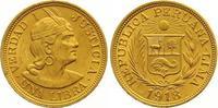 Libra Gold 1918 Peru Republik seit 1821. V...