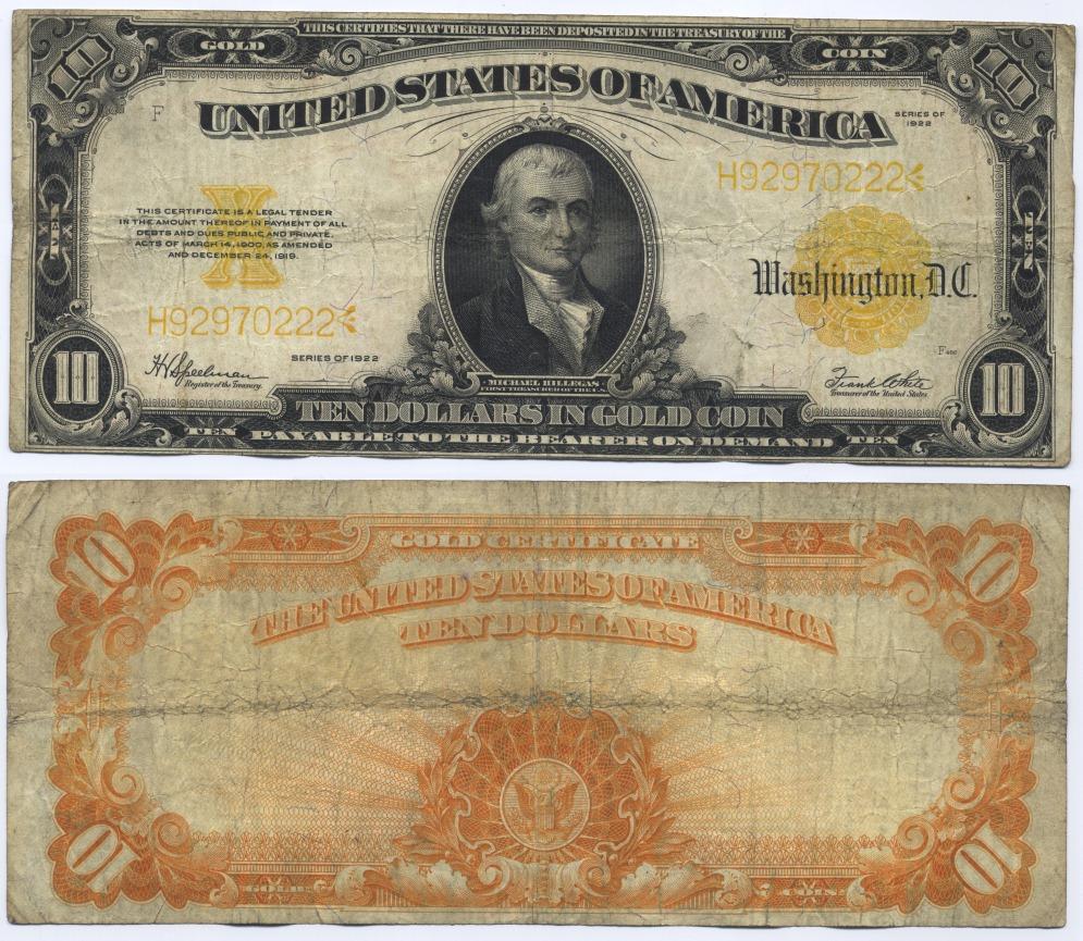 10 Dollars 1922 USA Large Gold Certificate, Hillegas. Speelman-White Fine